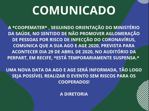 COMUNICADO - AGO/AGE 2020