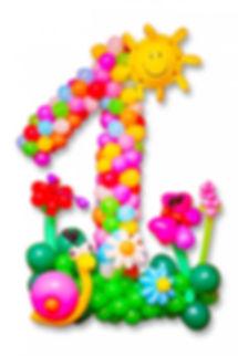 Единичка с цветочками и улиткой из воздушных шаров