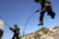 IDF Terror Combat unit Lotar soldiers training entering a house while rappeling