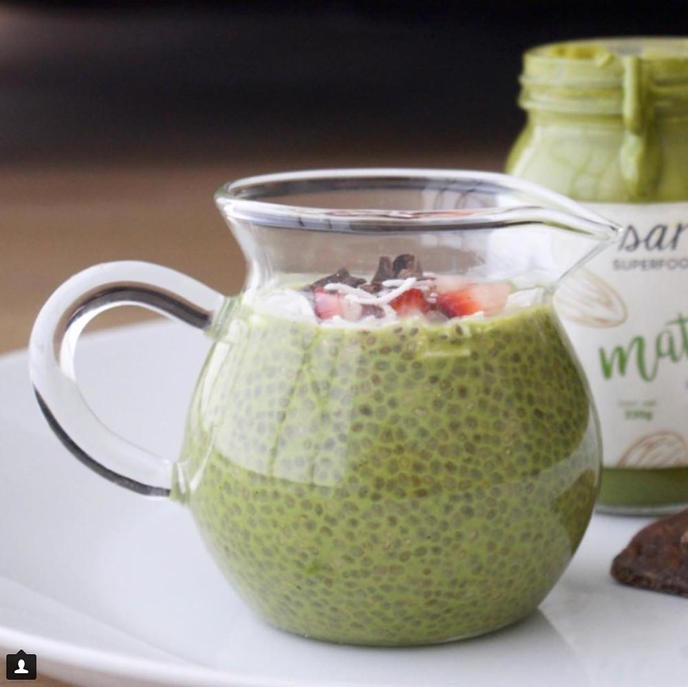 pudding de chia matcha kaori