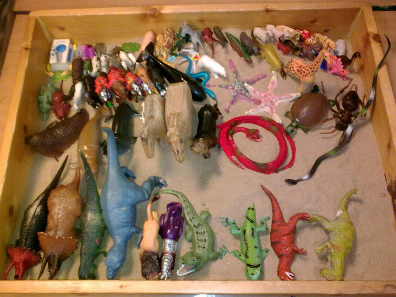 Sandtray with toys