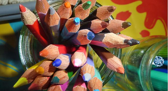 Jar of coloured pencils