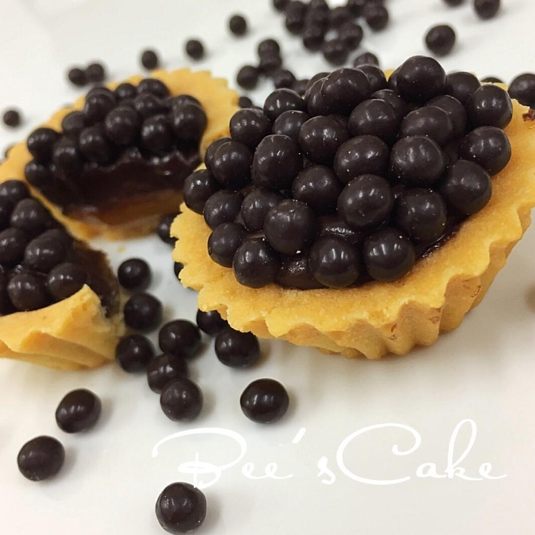 Mini Salted Caramel Chocolate Tarts With Crunchy Chocolate Pearls