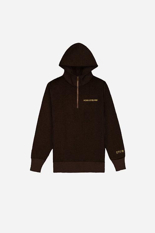 Corduroy 1/4 Zip Hoodie - Brown