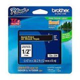 "Brother TZe334 12mm (0.47"") Gold on Black tape for P-Touch 8m (26.2 ft)"