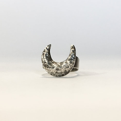 Hammered Moon Ring