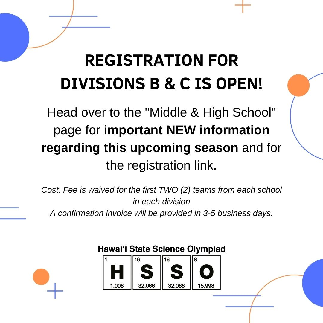 REGISTRATION FOR DIVISIONS B & C IS OPEN