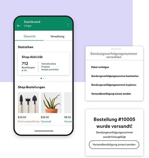 Verwaltung eines Geschäfts in der Wix Owner App mit einer Statistik-Übersicht und Sendungsverfolgungsnummern