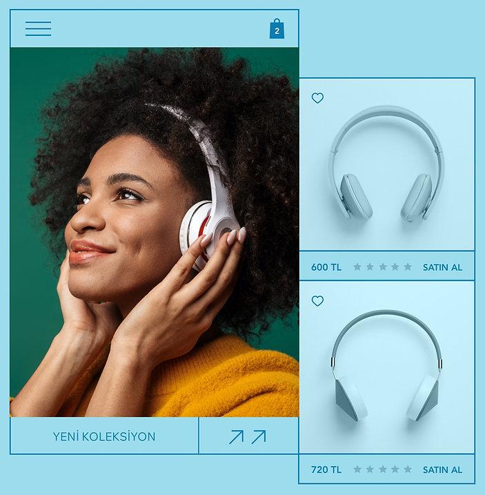 Kulaklık satan bir e-ticaret sitesindeki bir ürünün ürün resmi, ürün yorumları ve ürünü seven bir kadın görüntüsü.