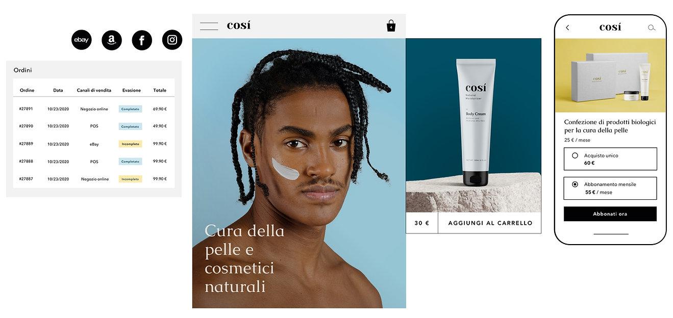 Evasione dell'ordine con più canali di vendita per un sito web di cosmetici naturali, e un'opzione per acquistare un abbonamento di prodotti su mobile.
