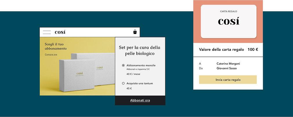 Negozio online di cosmetici che offre carte regalo digitali e scatole di prodotti in abbonamento.