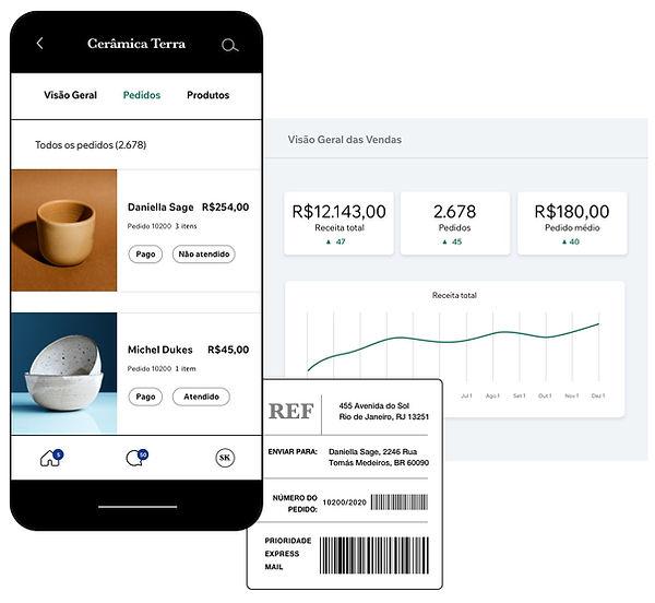 Site de eCommerce de cerâmicas com painel de controle mobile, etiqueta de envio e visão geral das vendas da loja.