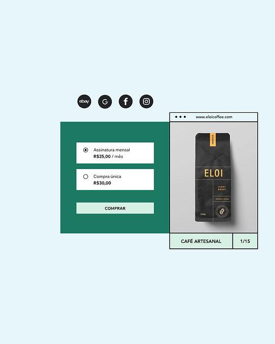 """"""" Loja online que vende assinaturas mensais de café e compras únicas com imagem do produto."""""""