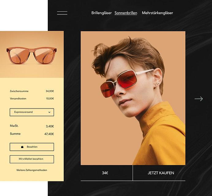 Onlineshop für Sonnenbrillen mit Produktseite und anpassbarem Warenkorb.