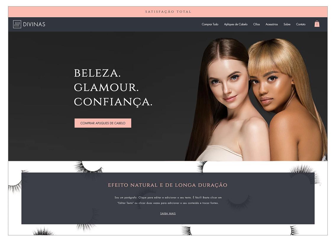 Template para loja virtual de extensões de cabelo e cílios