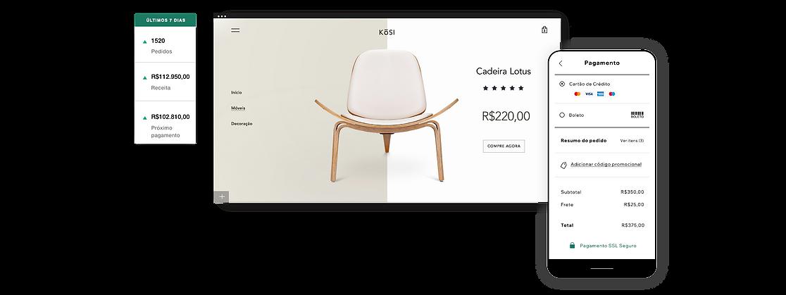 Loja virtual de decoração para casa com cadeira de madeira, visão geral de 7 dias e checkout no mobile.