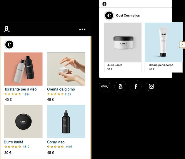 Negozio online di cosmetici con prodotti in vendita su Amazon e Facebook.
