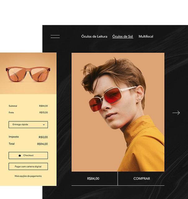 """""""Página do produto de loja online que vende óculos e carrinho personalizável. """""""