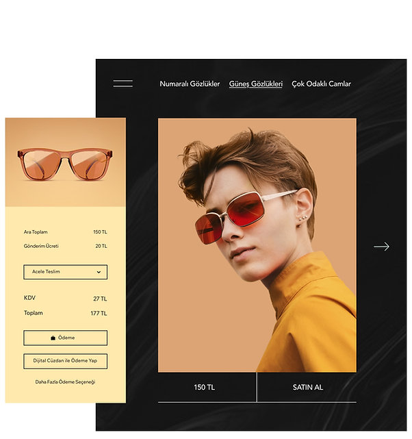 Gözlük satan bir online mağazanın ürün sayfası ve özelleştirilmiş alışveriş sepeti.