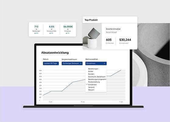 Datenbasierte Statistik und Bericht über Wix eCommerce Website