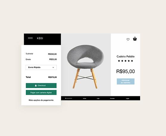 Painel de transações da loja virtual, cronograma de pagamento personalizado e galeria de produtos de móveis.