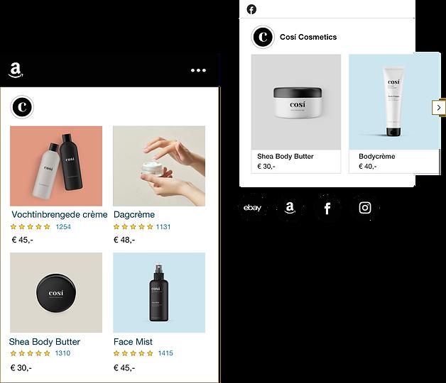 Webshop die cosmetica verkoopt met producten die te koop zijn op Amazon en Facebook.