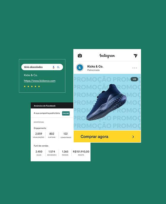 Marketing de loja online de tênis com campanha de anúncios no Facebook, otimização no Google Ad e Instagram Shop mostrando o produto.