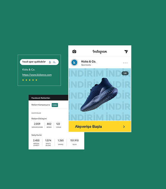 Spor ayakkabı online mağazasının Facebook reklam kampanyası, Google reklam optimizasyonu ve ürünü gösteren İnstagram mağazası içeren pazarlaması.