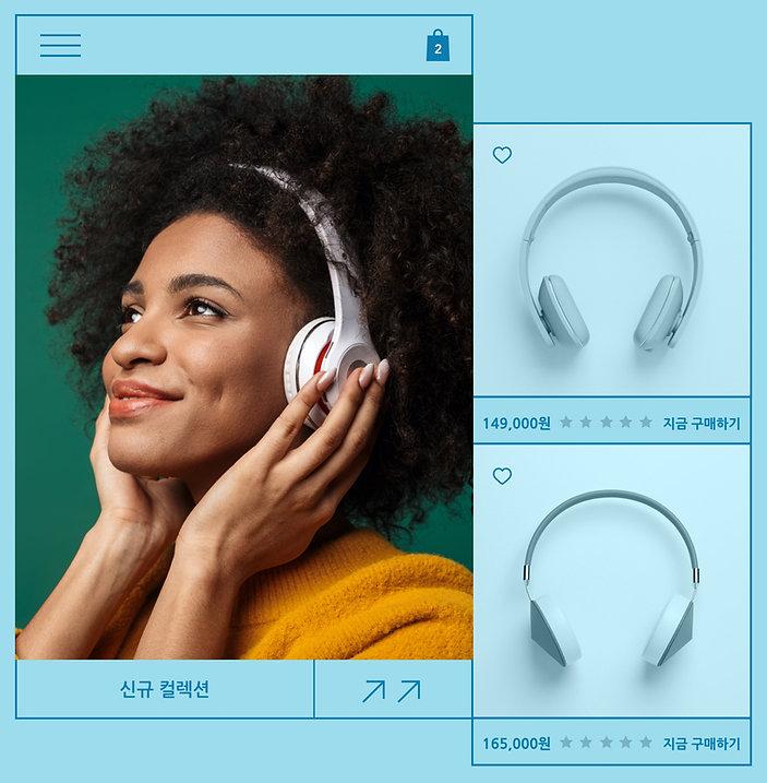 제품 이미지 및 제품 후기, 헤드폰으로 음악을 듣고 있는 여성 이미지로 구성된 헤드폰 판매 온라인 쇼핑몰 웹사이트.