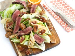 Biefstuk gegrilde peer salade