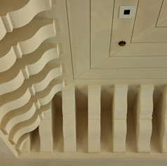 WE MADE THE CORBELED CORNICE FROM CARVED FOAM TO CREATE AN IMMENSELY DRAMATIC CEILING IN A CLIENT'S POOL HOUSE.