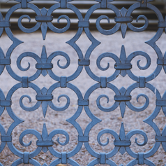 WE COPIED THIS INTRICATE HAND WROUGHT IRON ENTRY GATE FROM ONE AT VILLA SAN MICHELE OUTSIDE OF FLORENCE.
