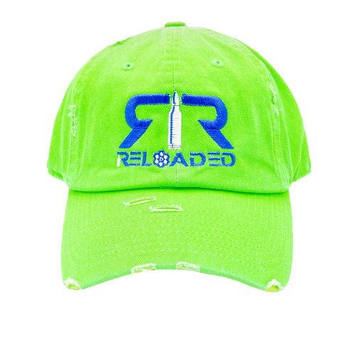 "DAD HAT ""NEON GREEN/ ROYAL BLUE AND WHITE LOGO"""