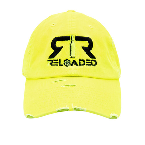 "DAD HAT "" NEON YELLOW / BLACK AND WHITE LOGO"""