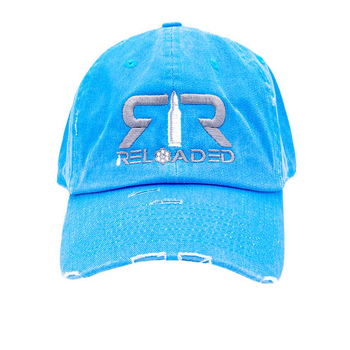 """DAD HAT """"NEON BLUE/ GREY AND WHITE LOGO"""""""