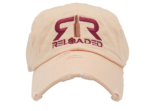 "DAD HAT ""PEACH / BURGANDY AND COPPER LOGO"""