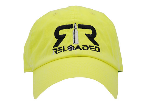 """DAD HAT """" NEON YELLOW / BLACK AND WHITE LOGO"""""""