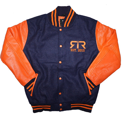 NAVY & ORANGE LEATHER RELOADED VARSITY JACKET