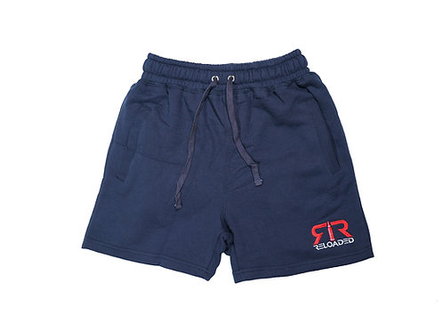 """FLEECE SHORTS """"NAVY"""" RED & WHITE EMBROIDERY"""