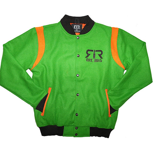 KELLY GREEN, ORANGE & BROWN WOOL RELOADED VARSITY JACKET