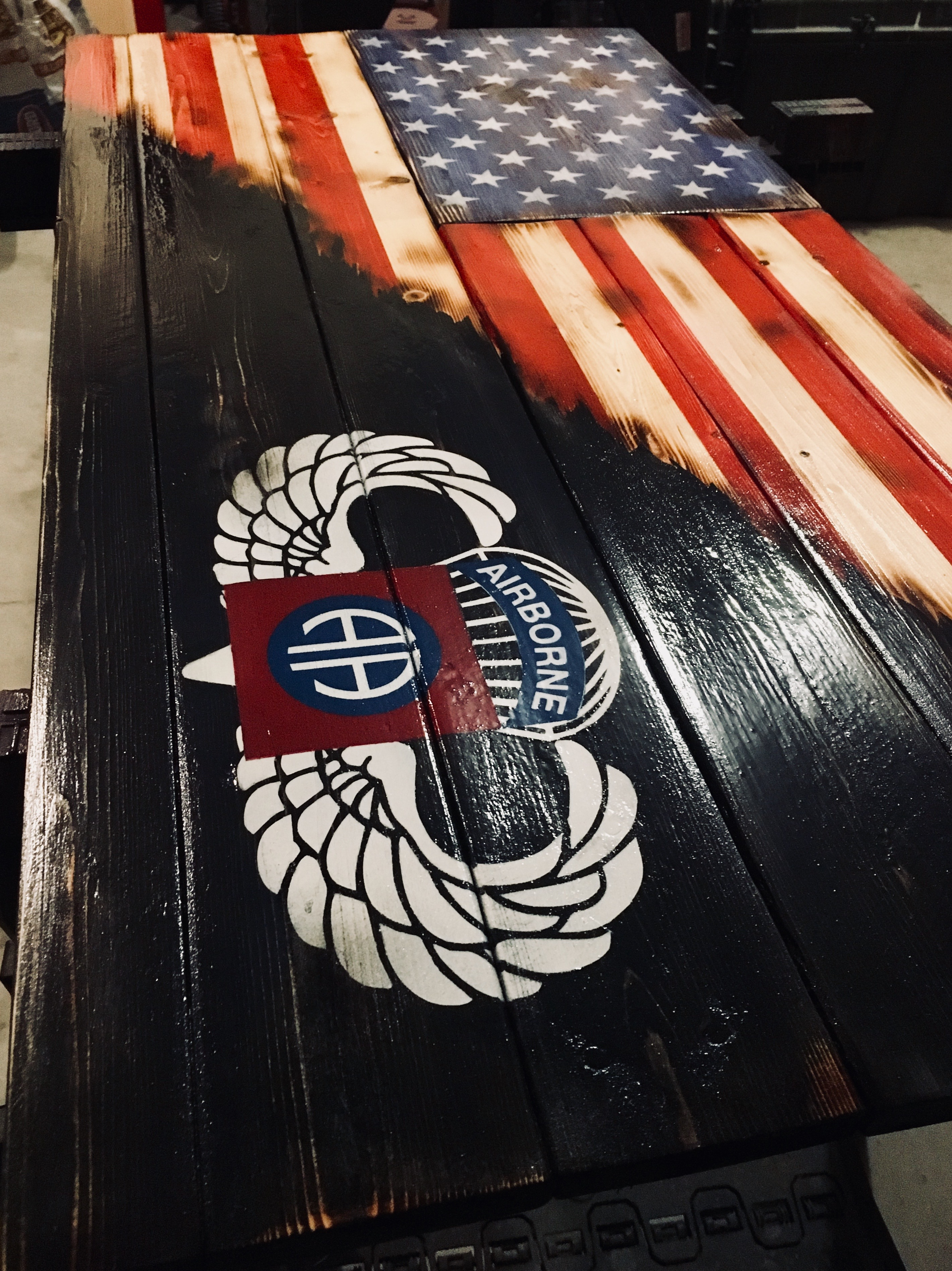 Custom 82nd Airborne Blended Flag