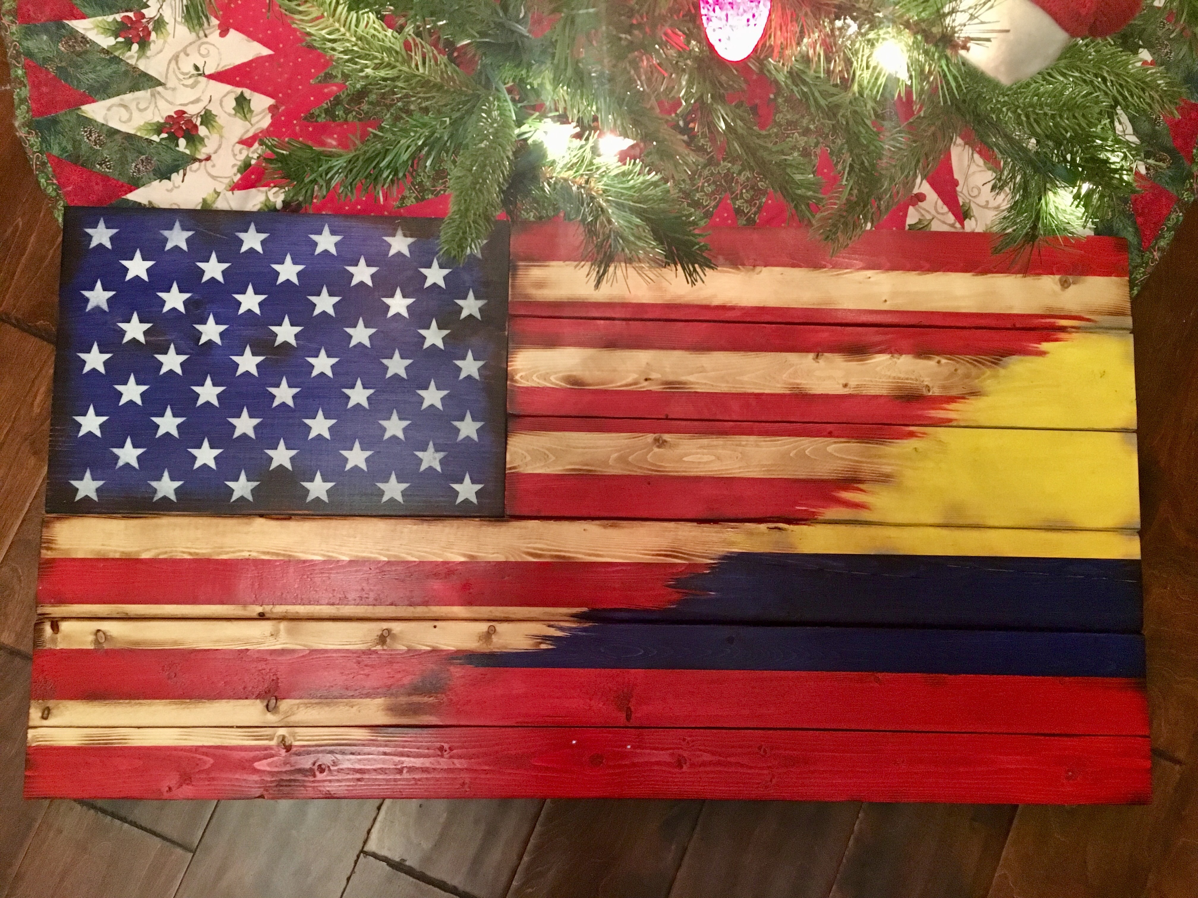 American/Columbian blended flag
