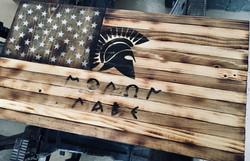 Custom Molon Labe stain flag