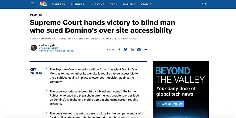 CNBC story about Dominos being sued in the USA over site accessibility