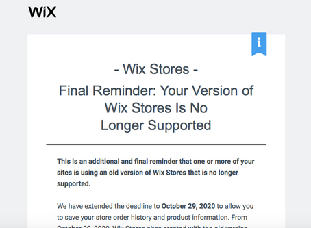 Upgrade your old Wix Store to the new Wix Store before the deadline of October 29th 2020