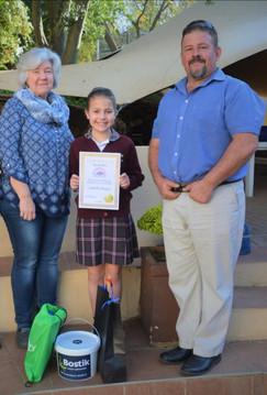 Crawford Preparatory School teacher Sharon Stewart, pupil Isabella Strauss and Shaun Murphy.