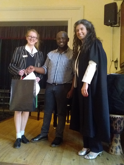 Jeppe High School for Girls Gr 11 learner Andrea Brits-Hide was highly commended for her front page drawing and Miss Dina Goncalves (Headmistress).