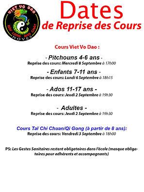Dates Reprise des Cours