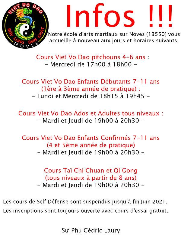 06 - Juin le 17 - Dernières infos cours