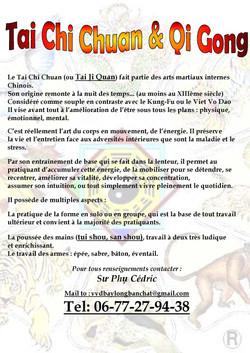 Feuille d'info Taï Chi Chuan